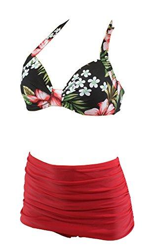 Hibiskus-bikini-top (Aloha-Beachwear Tiki Vintage Strandmode Rockabilly Fifties Damen Bikini A1021 (S / 36 / UK 10, Top Mehrfarbig/Unterteil Rot))