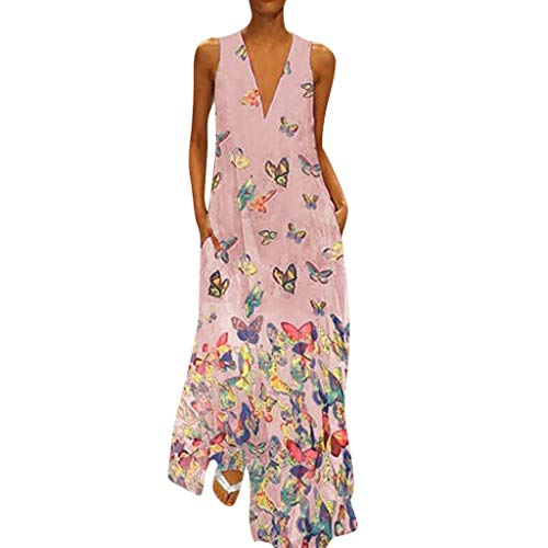 POIUDE Ärmelloses Kleid Damen Maxikleid Schmetterlingsdruck Damen Boho Long Maxi Party Rock Sommer Print Kleider(Pink, XXXXL)