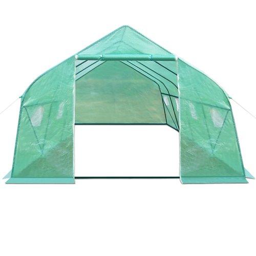 Deuba Gewächshaus Foliengewächshaus 18m² | 600x300x205cm 8 Fenster Treibhaus Tomatenhaus Reißverschluss Insektenschutz