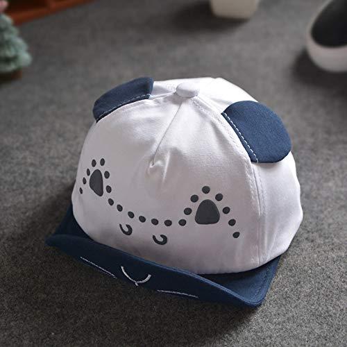mlpnko Neue kleine Gummi weich entlang Katze Hut Kleinkinder aus Hip Hop Hut lässig weiß + Marineblau geeignet für Kopfumfang 46~50cm (Katze Im Hut Kostüm Für Kleinkind)