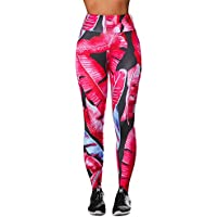 Leggins Mujer Pantalones Yoga Mujeres, Yusealia Cintura Alta Leggins Fitness Pantalones Hojas Impresión 3D Elasticidad Moda Empalmada Pantalones De Correr Leggings EláSticos De Flaco Fitness