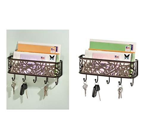 iDesign Schlüsselbrett mit Ablage, kleine Hakenleiste aus Metall für Post, Notizen, Schlüssel, Leinen und mehr, dekorative Briefablage mit 5 Haken, bronzefarben
