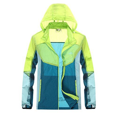 DYY Im Freien Breathable UVschutzsonnenschutzkleidungs-Paarhautkleidung Männliche Hautwindbreakerfrau,Grün,L