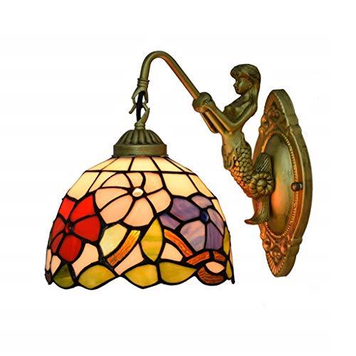 E27 Traube Tiffany Wand Licht Buntglas-Wandlampe retro lampe schmiedeeiserne Schönheitswand Beleuchtung Lampe Innenausstattung Leuchten retro wandlampe(enthält keine Lichtquelle) (Color : B) - Schmiedeeiserne Leuchten
