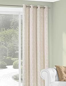 140x245 cm beige cappucino Vorhang Vorhänge Fensterdekoration Gardine Ösenschal Blickdicht Schnörkel Andreo