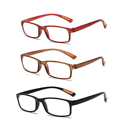 Admier 3 P-Lesegeräte Lesebrille Biegbare Brille entfernt Presbyopie-Brillen +1,0 bis + 3,5 Grad Flexible Federgelenke Qualitätslinsen mit 7 Linsenstärken,+3.50