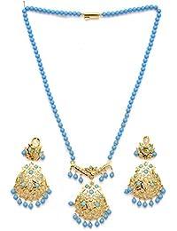 Zevarcraft Alloy Blue And Gold Color Necklace Set For Women Ze-008
