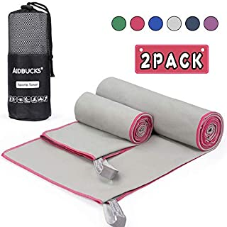 AIDBUCKS I Microfibre Towel Sports Towel Set with Bag Microfibre Travel Towel Bath Towel Beach Towel I Bundle Light Grey Quick-Drying I For Children Men and Women (Pink) - 140 x 70 cm