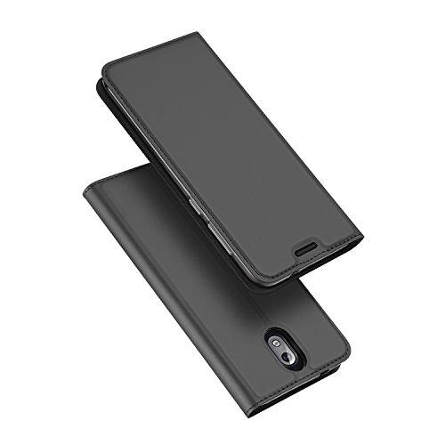 DUX DUCIS Nokia 3.1 Hülle,Flip Folio Handyhülle,Magnet,Standfunktion,1 Kartenfach,Ultra Dünn Schutzhülle für Nokia 3.1 (Grau)