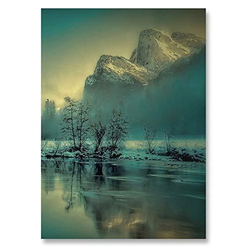 WSWWYForest Lake Lienzo Pintura Puesta de Sol Paisaje póster e impresión decoración...