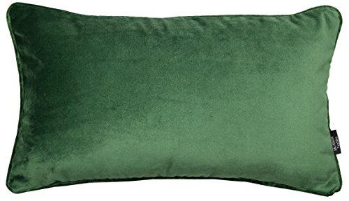 McAlister Textiles Luxury Kollektion | Großer rechteckiger Kissenbezug aus mattem Samt paspeliert | 60cm x 40cm in Moosgrün | Deko Kissenhülle für Sofa, Couch, Sessel Bett