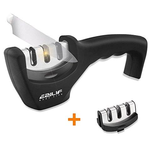 EZILIF Messerschaerfer Messerschärfer Profi 3 Stufen Messerschleifer Knife Sharpener für Scharfe Messer in Küche, Haushalt und Garten