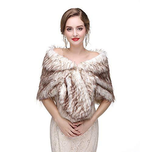 NTT Braut-Winter-Schal, Wickel + Kunstpelz + Wärme + Mode + Party-Show + Brautkleid Winter, Damen Schal Mantel,LightYellow