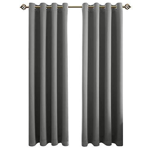 FLOWEROOM Blickdichte Gardinen Verdunkelungsvorhang - Lichtundurchlässige Vorhang mit Ösen für Schlafzimmer Geräuschreduzierung Grau 213x132cm(HxB), 2er Set