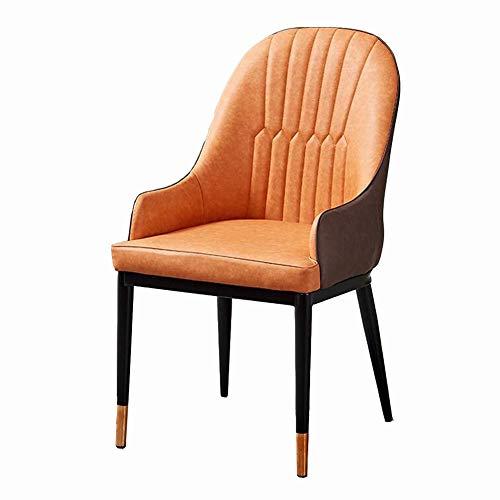 Dall Essstühle PU-Sitz Gepolsterte Sitze Bürostuhl Restaurant Hotel Konferenzraum Empfangsmöbel 5 Farben (Color : Orange)