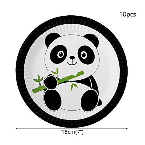 (Panda Party Einweggeschirr Pappteller Dschungel Party Papierservietten Drüsen Baby Shower Geburtstag Partydekorationen Kind, 10 Stücke 7 Zoll Platte)