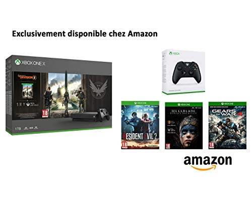 Xbox - Pack Console Xbox One X + Manette Xbox Noire + 4 Jeux - Division 2 - Resident Evil - HellBlade - GOW 4 [Edizione: Francia]