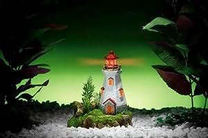 Aquarium Deko Leuchtturm mit LED Beleuchtung Aquariumdeko