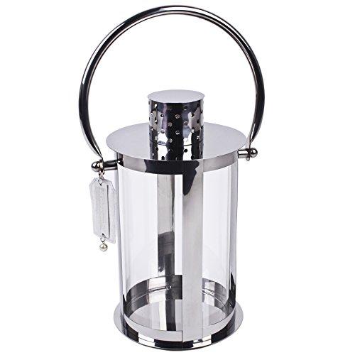 Lanterna chique in acciaio inox 52 x 22 cm argento living design