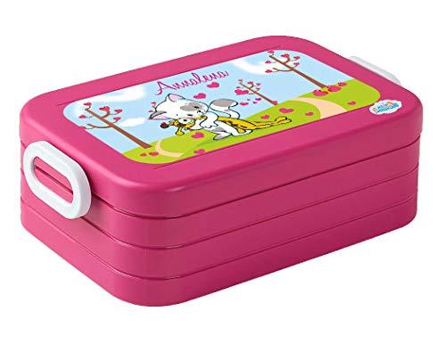 Mein Zwergenland Lunchbox Mepal Maxi Take A Break midi Brotdose mit eigenem Namen Pink, Katze