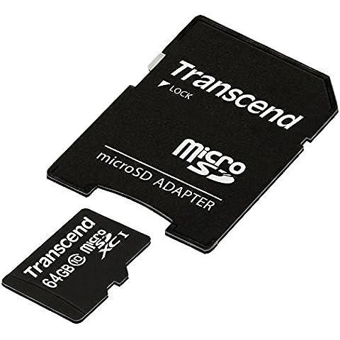 Transcend TS64GUSDXC10 - Tarjeta de memoria MicroSDXC de 64 GB (UHS-I, Clase 10, 10 MB/s, IPX7), color