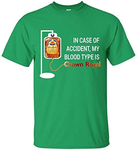 Medress Das Generikum M?nner im Falle eines Unfalls Meine Blutgruppe ist Crown Royal Classic Komfort-Kurzarm-T-Shirts Irish Green Small