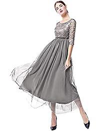 IWEMEK La Mujer Encaje Manga 3/4 Vestido de noche Elegante Largo Tul Rendija Swing Vestido de Baile Cóctel Vestido de Fiesta Vestido de…
