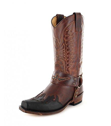 Sendra Boots 7862 Chocolate Marron Tang Lederstiefel für Damen und Herren Braun Bikerstiefel, Groesse:43
