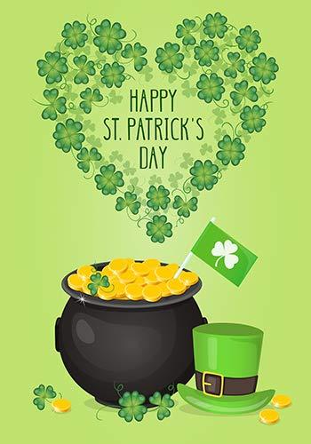 Dtzzou Gartenflagge Happy St. Patrick's Day 30,5 x 45,7 cm Dekorative Kleeblatt Kleeblatt Garten Flagge Gold Pot Münze Regenbogen Grün Hut doppelseitig Flagge für St. Patrick's Day Dekoration (Gold Kleeblatt Münzen)