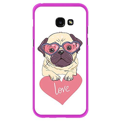 BJJ SHOP Rosa Hülle für [ Samsung Galaxy A5 2017 ], Klar Flexible Silikonhülle, Design: Pug-Welpe mit Brille, Love
