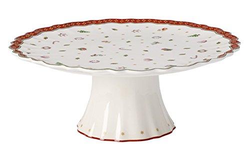 Villeroy & Boch Toy's Delight Plat à gâteau sur pied, 28 cm, Porcelaine Premium, Blanc/Rouge