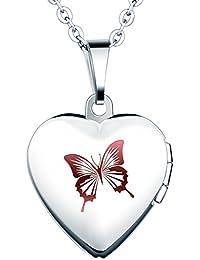 Yumi Lok Acero Inoxidable Mariposa Foto medallón ovalado Photo imágenes Amuleto Plata Colores Rosa/Azul Corazón Colgante Collar Cadena Colgante Para Mujer Chica