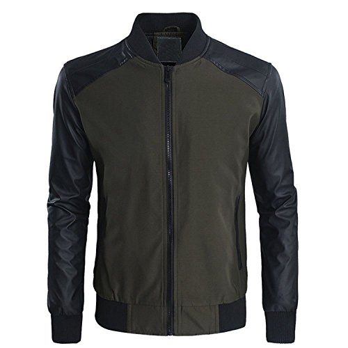 Zhuhaitf Fashion Cool Mens Slim Synthetic Leather Jackets Stand Collar Outerwear Rider Jackets Moto Coats Armygreen