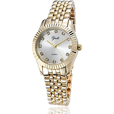 Yaki orologi di lusso donna classico oro analogico al quarzo, strass,in lega