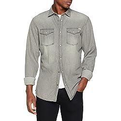 JACK & JONES Jjesheridan Shirt L/s Camisa Vaquera, Gris (Light Grey Denim Fit:Slim), Large para Hombre