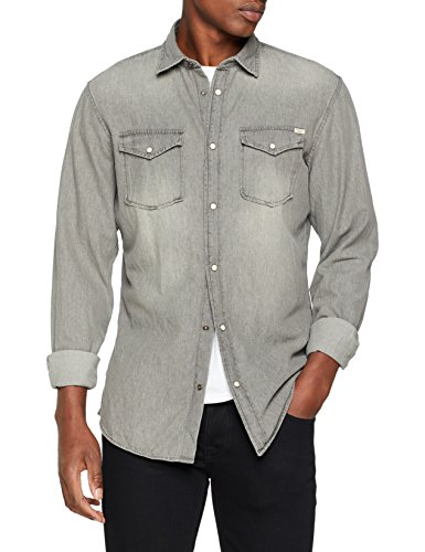 Jack & jones jjesheridan shirt l/s camicia in jeans, grigio (light grey denim fit:slim), large uomo