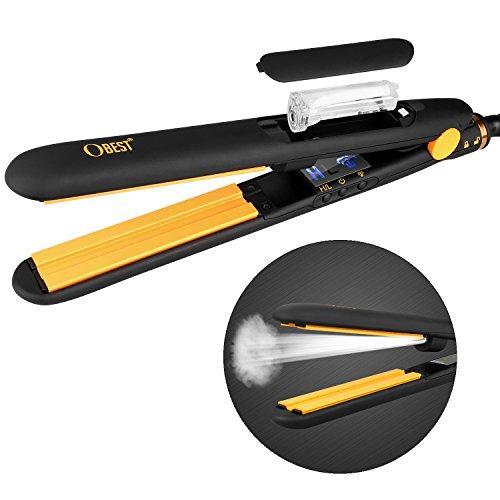 HUAJUN Plancha de vapor para cabello,2 en 1 Currtl y Enderezar alisador de cabello profesional a base de vapor Cuidado del Cabello