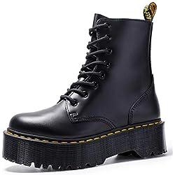 Botas Militar Con Plataforma Y Cordones A Conjunto Para Mujer, Tacón Ancho Botas Negro/34-41,Negro,39EU