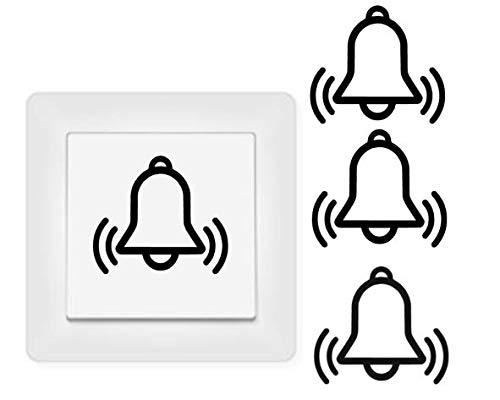 generisch 4X Glocke Aufkleber Schalteraufkleber Glocke Klingel (254/3/1) (dunkelgrau matt, 2,5 x 3 cm)