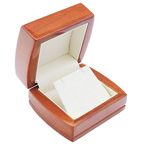 EYS JEWELRY® Schmuck-Etui für Ohrringe Kette Anhänger 84 x 75 x 50 mm Holz braun Halskette-Box Schachtel Schatulle Geschenk-Verpackung EYSBOX (Ohrring-etui)