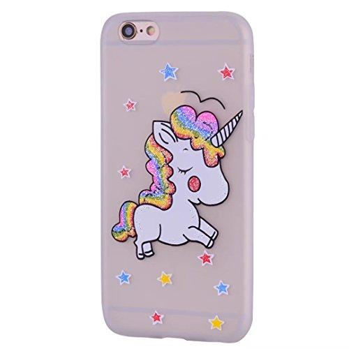 Coque iPhone 5/5s/5se Coquille de Licorne en cuir avec la fonction slot slot carte et Sparkling Glitter Star pattern Housse(Brun-01) Mat transparent
