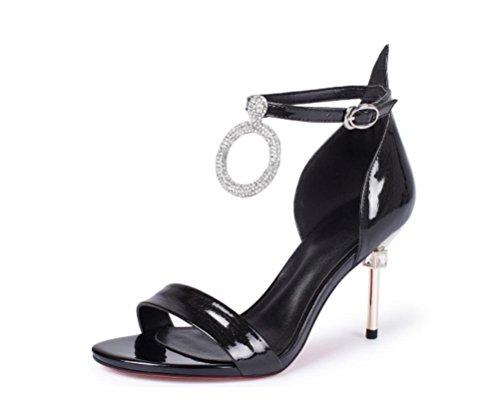 Nouvelle bague féminine en cuir véritable, mot bouche superficielle avec talons hauts, chaussures européennes et américaines boucle de vent Black