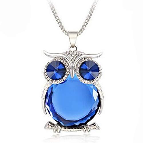 Minzhi Frauen Blaue Augen Owl Anhänger Strass Halsketten-Legierung Strickjacke-Kette