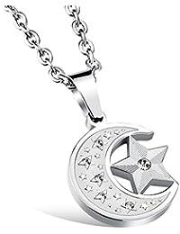 1ad5af7f74bc iLove EU Edelstahl Anhänger Halskette Zirkonia Silber Halbmond Mond Stern  Herren,Damen mit 50cm Kette