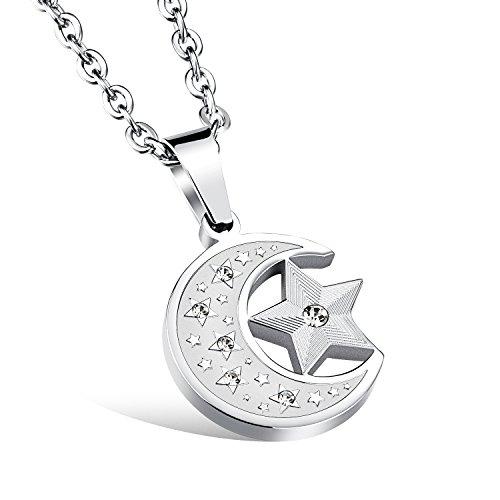 iLove EU Edelstahl Anhänger Halskette Zirkonia Silber Halbmond Mond Stern Herren,Damen mit 50cm Kette