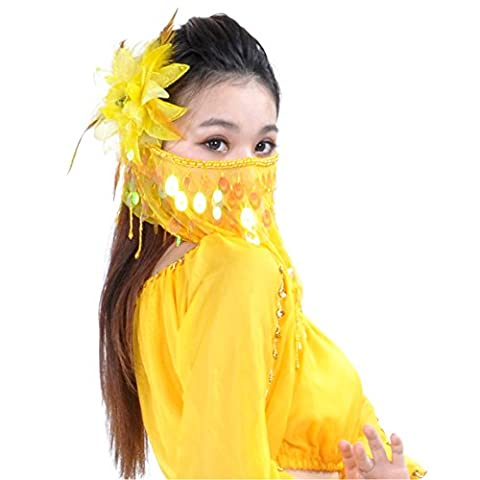 Dance Fairy Yellow Belly Dance Face Veil With sequins &