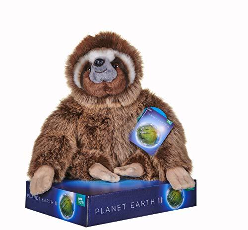 Posh Paws 12450 BBC Planet Earth II Sloth - Peluche con Soporte de exhibición (25 cm), Color marrón