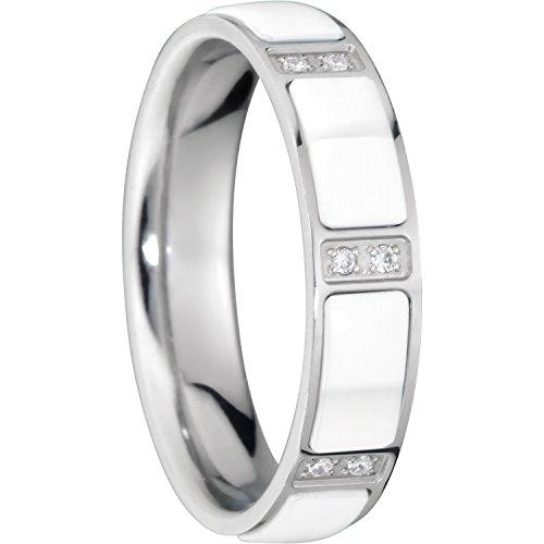 Bering Damen-Ring arctic symphony InnenRing Edelstahl Keramik Zirkonia weiß Gr. 67 (21.3) - 503-15-102