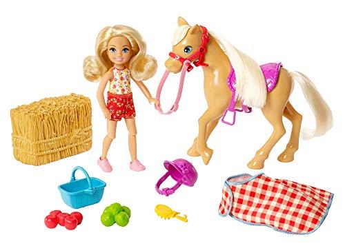 Barbie Famille mini-poupée Chelsea et son poney à la ferme, botte de paille et accessoires, jouet pour enfant, GFF50