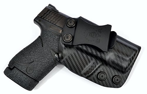 S&W M&P Shield 9/40 IWB Holster Veteran Owned Company - Made in USA - Made from Boltaron - Inside Waistband Concealed Carry Holster (Carbon Fiber-Right Hand) by CYA Supply Co.